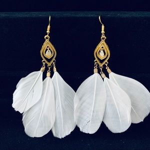 3 for $15 White feather dangle earrings NWT